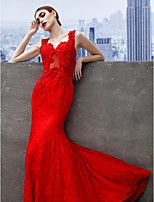 Formal Evening Dress - Ruby Trumpet/Mermaid Sweetheart Sweep/Brush Train Lace