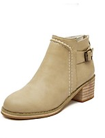 Women's Shoes  Chunky Heel Combat Boots / Round Toe Boots Outdoor / Dress / Casual Black / Beige