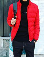 Men's Regular Parka Coat , Cotton Blend / Polyester Pure Long Sleeve
