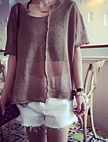 Women's Solid Khaki / Gray Pullover , Casual ½ Length Sleeve