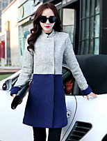 Women's Casual Slim Color Block Tweed Long Coat
