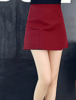 Women's Solid Red / Black Skirts , Casual Mini