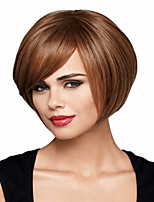 New Arrival Brown Color Short Straight Hair Wig with Full Bang