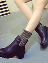 Chaussures Femme - Décontracté - Noir / Gris - Gros Talon - Bout Arrondi / Bottes à la Mode - Bottes - Similicuir