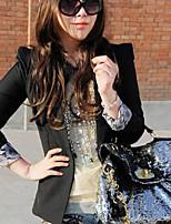 Women's Solid Black / Gray Blazer , Casual Round Neck / Notch Lapel Long Sleeve