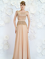 Formal Evening Dress - Champagne A-line Jewel Floor-length Satin