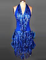 Vestidos y faldas ( Negro / Fucsia / Verde / Rojo / Royal Blue / Azul Laguna , Spandex , Danza Latina / Desempeño / Samba ) -Danza Latina