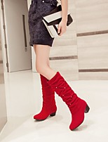 Women's Shoes Leatherette Chunky Heel Round Toe Boots Outdoor / Office & Career / Casual Black / Blue / Red