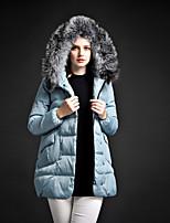 Women's Solid Blue / Pink / Black / Purple Down Coat , Casual Turtleneck Long Sleeve