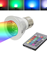 120 ° glans 3W RGB LED E27 fjärrstyrda 16 multi färger ersättnings plats glödlampan (ac86-265v)