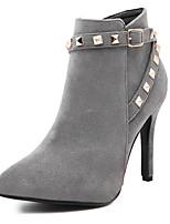 Women's Shoes Fleece Stiletto Heel Pointed Toe Boots Dress Black / Gray