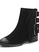 Women's Shoes Leather Chunky Heel Fashion Boots / Round Toe Boots Dress / Casual Black / Brown