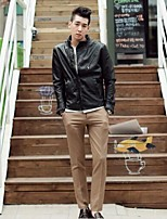 Men's Long Sleeve Jacket , Faux Leather Casual Pure