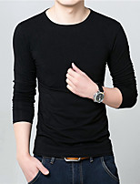 Men's Long Sleeve T-Shirt , Cotton Blend Casual / Work / Formal / Sport / Plus Sizes Pure