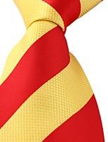 Red Yellow Striped Classic Jacquard Woven Silk Men Necktie
