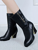 Women's Shoes Elegant Lady Chunky Heel Round Toe Fashion Mid-Calf Boots Dress / Casual Black