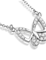 925 Sterling Silver Butterfly Pendant Necklace Women Fashion Jewelry