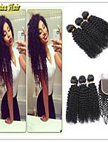 4 pièces / lot brésilienne de cheveux humains tissage touffe de cheveux vierge fermeture afro friser les cheveux armure faisceaux de
