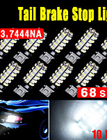 10X White 7443 68SMD T20 7440 LED High Power Tail Brake Stop Reverse Light 6000K