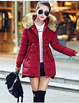 Women's Solid Blue / Red / Black / Green / Yellow / Gray Down Coat , Casual Hooded Long Sleeve