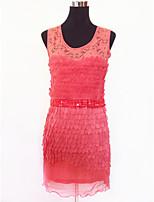 Vestidos ( Preto / Roxo / Vermelho / Branco / Amêndoa , Renda / Organza , Roupas de Balada ) - de Roupas de Balada - Mulheres