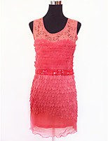 Clubwear Dresses Women's Performance Lace / Organza Cascading Ruffle 1 Piece Black / Purple / Red / White / Almond
