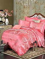 estilo retro real subiu da cama jacquard set 4 peças