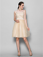 Knee-length Tulle Bridesmaid Dress - Champagne A-line Straps