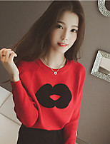 Women's Letter Red / Black Cardigan , Casual Long Sleeve
