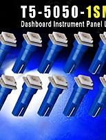 10 PCS Ultra Blue T5 5050 1SMD Wedge Car LED Light Bulbs 2721 74 73 70 17 18 37