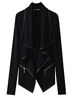 Women's Solid Black Trench Coat , Casual Long Sleeve Cotton