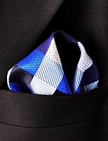 Men's Pocket Square Checked Blue 100% Silk Business