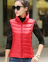 Women's Solid Blue / Red / Black / Green / Yellow Parka Coat , Casual / Plus Sizes Hooded Sleeveless