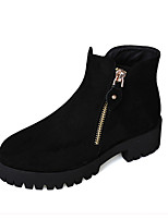 Women's Shoes Suede Chunky Heel Round Toe Boots Casual Black / Burgundy