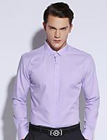 Shirts Button Down Collar Long Sleeve Cotton Stripes Pink / Purple