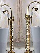 Bathtub Faucet - Art Deco/Retro - Floor Standing - Brass (Ti-PVD)