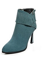Women's Shoes Leather Stiletto Heel Fashion Boots / Pointed Toe Boots Dress / Casual Black / Green