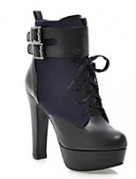 Women's Shoes Leatherette Chunky Heel Fashion Boots Boots Office & Career / Dress / Casual Black / Blue