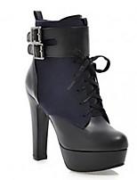 Calçados Femininos - Botas - Botas da Moda - Salto Grosso - Preto / Azul - Courino - Escritório & Trabalho / Social / Casual