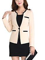 Women's Solid Black / Beige Blazer , Work / Plus Sizes Deep V Long Sleeve