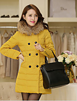 Women's Solid Red / Green / Yellow Down Coat , Casual Hooded Long Sleeve