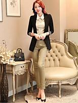 Women's Solid White / Black / Green Blazer , Work Asymmetrical Long Sleeve