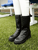 Women's Shoes Leatherette Low Heel Riding Boots Boots Dress / Casual Black / White / Beige