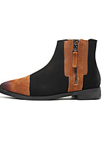 Chaussures Femme - Décontracté - Noir / Marron - Gros Talon - Bout Pointu - Bottes - Similicuir