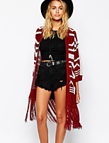 Women's Striped Red Cardigan , Casual Long Sleeve