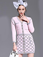 Women's Solid Pink Dress , Casual ¾ Sleeve