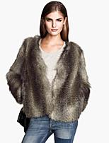 Women's Fashion Faux Fur Jacket Long Sleeve Coat
