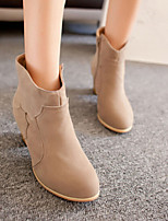 Women's Shoes Suede Chunky Heel Pointed Toe Boots Casual Black / Brown / Beige