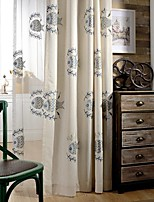 (Two Panel)Modern Rumble Fish  Embroidered  Cotton Energy Saving Curtain