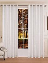(One Panel)Polyester White Silver Star Jacquard Energy Saving Curtain